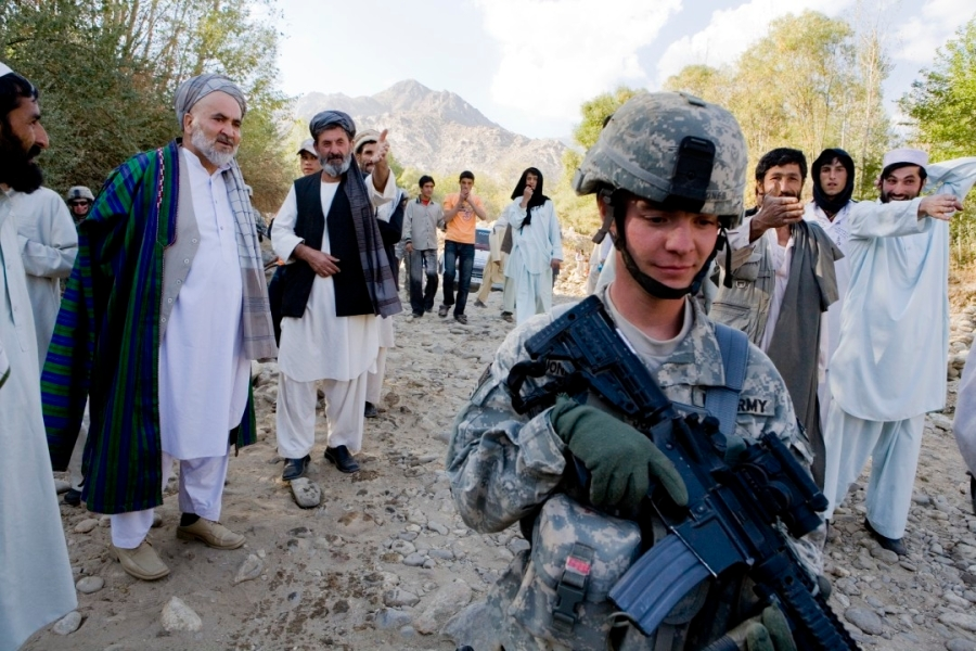 American Soldier with Local Afghans